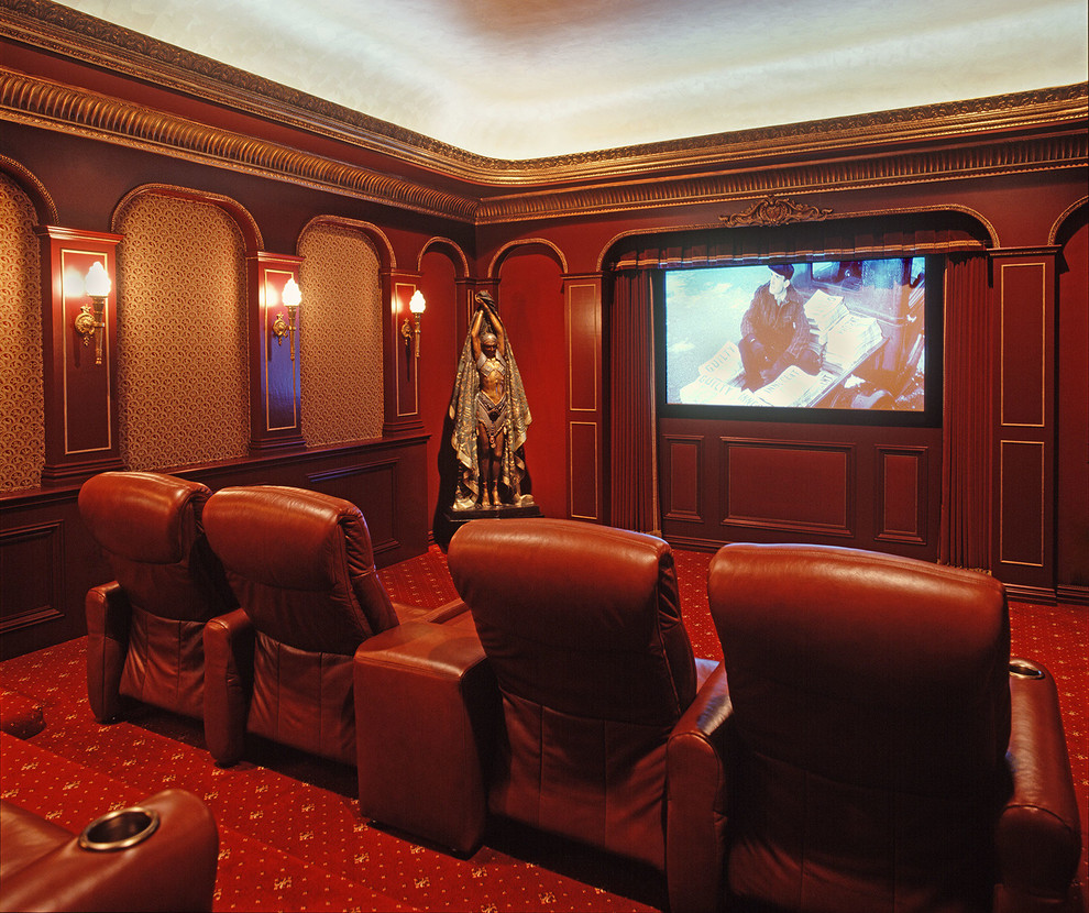Melrose Park Theater for Traditional Home Theater with Gold Trim