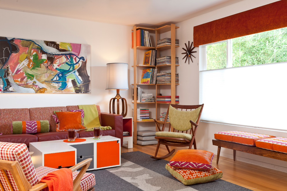 Modern Mobler for Midcentury Family Room with Bright Colors