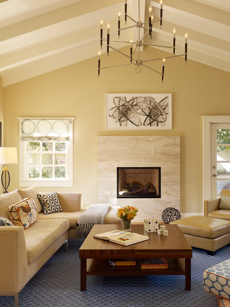 Monroe Bisque for Transitional Family Room with Vaulted Ceiling