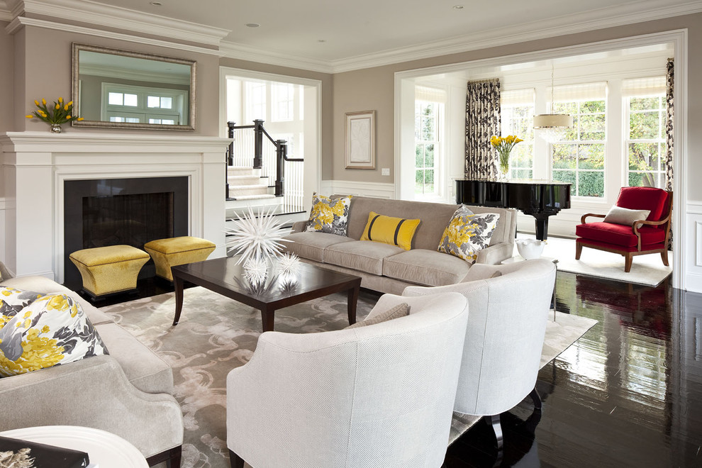 Moores Furniture for Transitional Living Room with Red Chair