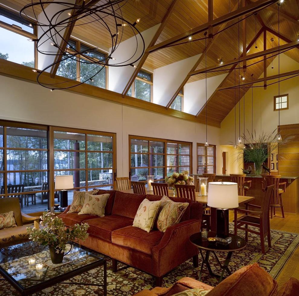 Mullioned Windows for Rustic Living Room with Vermont Interior Designer