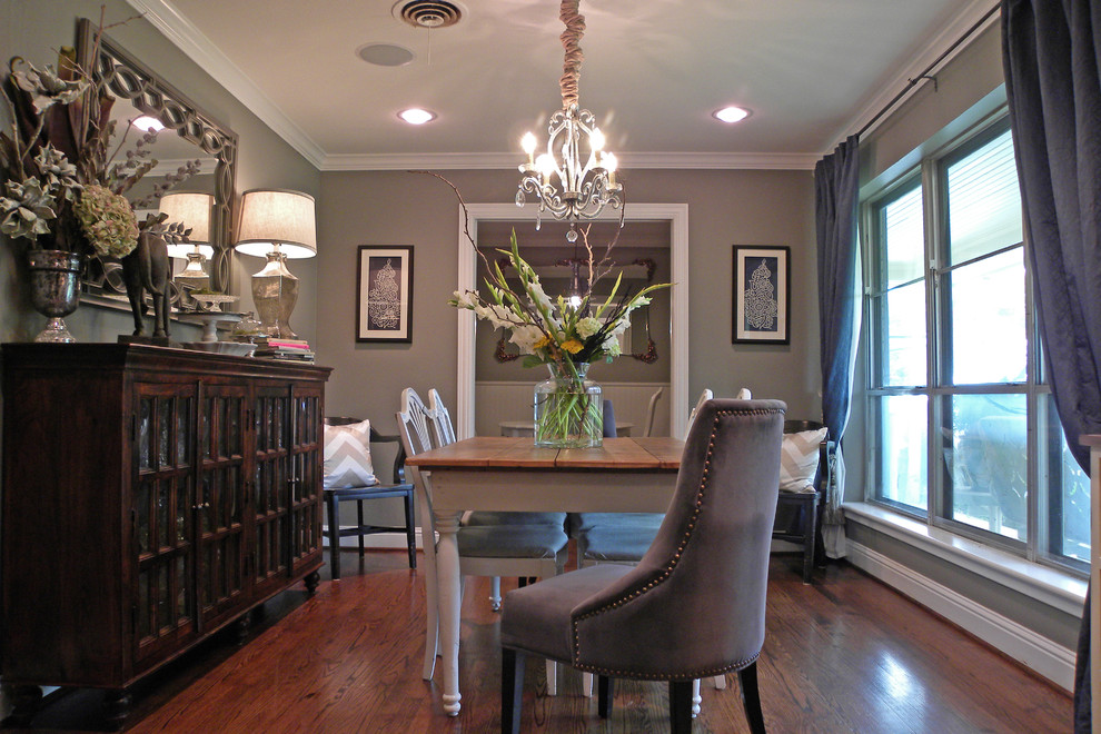 Nadeau Dallas for Traditional Dining Room with Shabby Chic Gray Walls