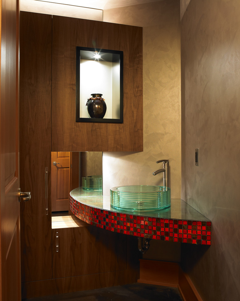 Oceanside Tile for Modern Bathroom with Textured Walls