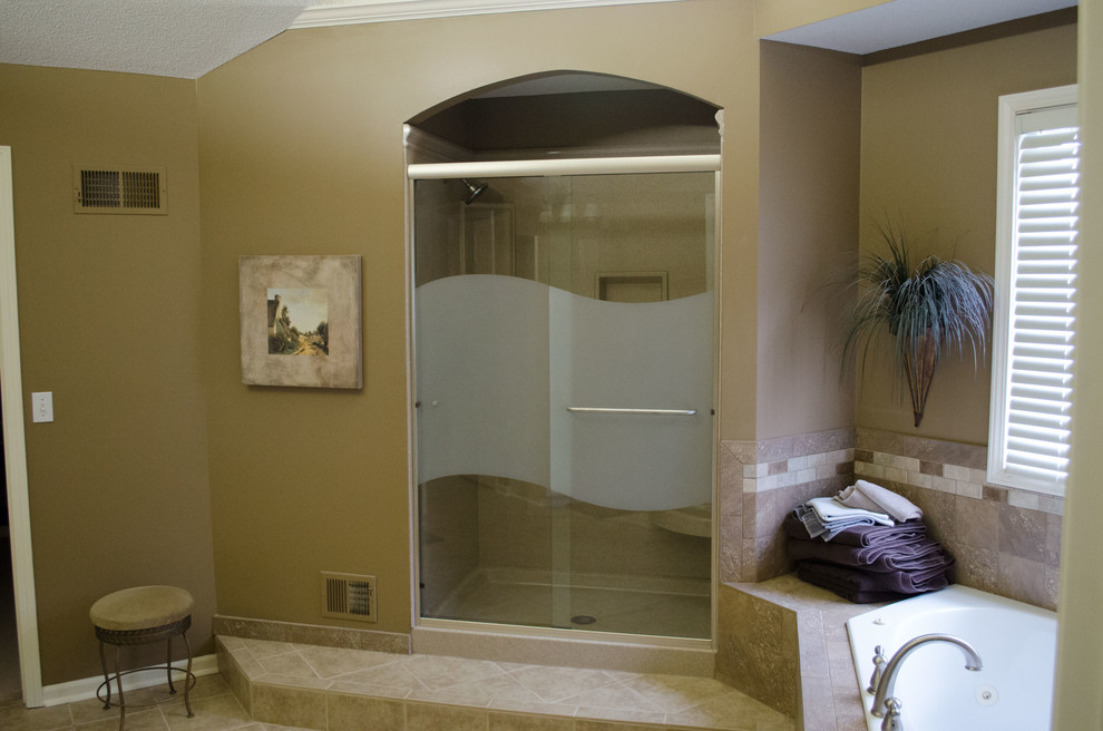 Olathe Glass for Mediterranean Bathroom with Shower Shelves