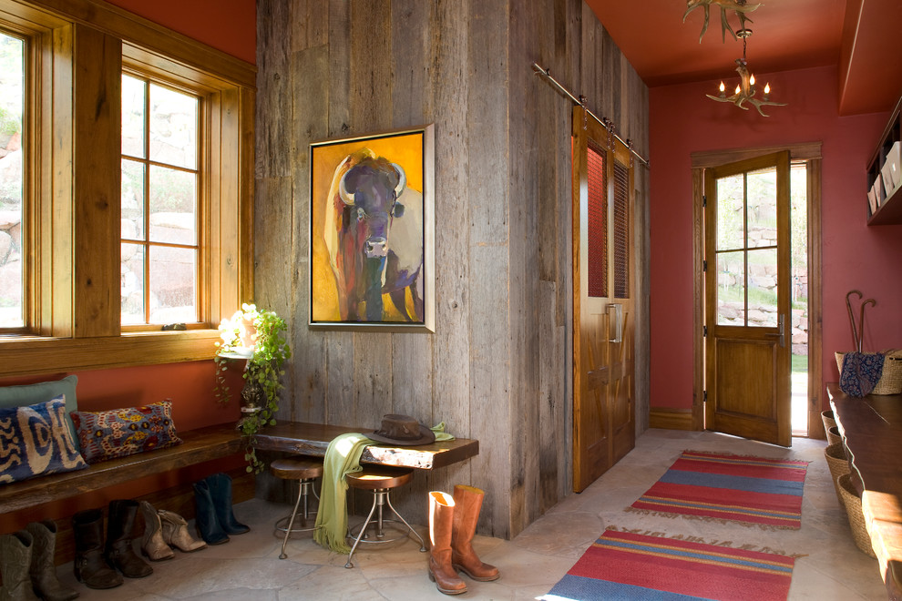 Painting Wood Paneling for Rustic Entry with Antler Chandelier