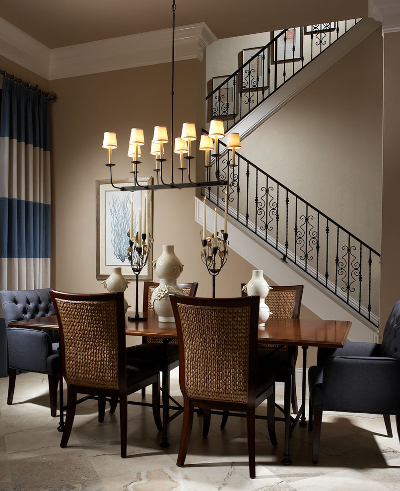 Palecek for Traditional Dining Room with Blue and Brown