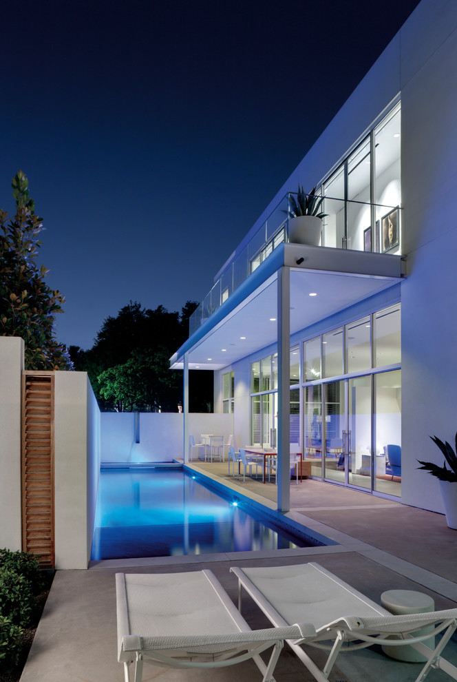 Passive Solar House Plans for Contemporary Pool with White Chaise Lounge