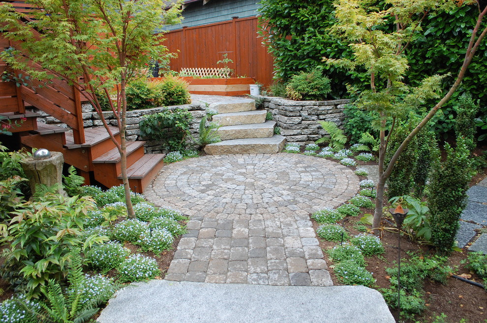 Paver Steps for Contemporary Landscape with Stone Patio