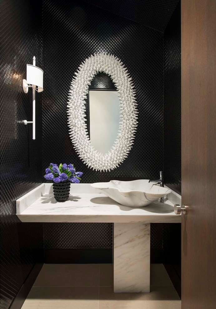 Phillip Jeffries for Contemporary Powder Room with Mirror