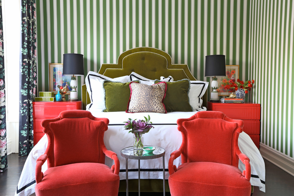 Pineapple Symbolism for Eclectic Bedroom with Striped Walls