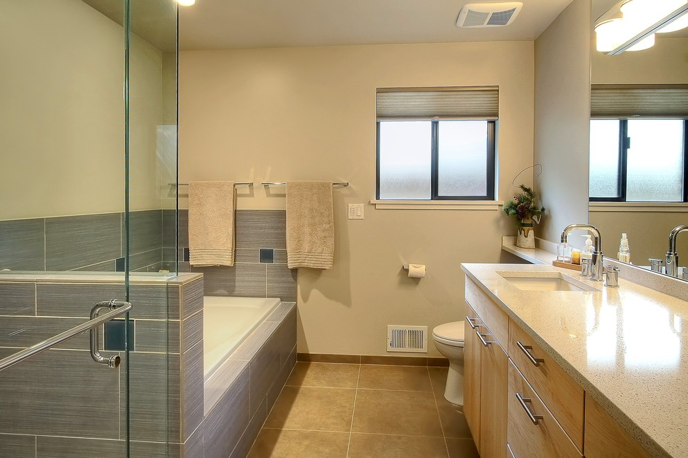 Precision Countertops for Contemporary Bathroom with Tub Surround
