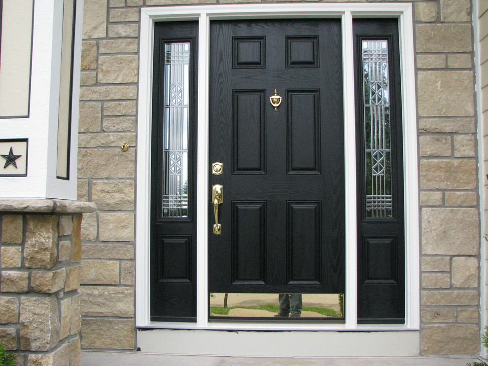 Provia Doors for Traditional Entry with Black Entry Door