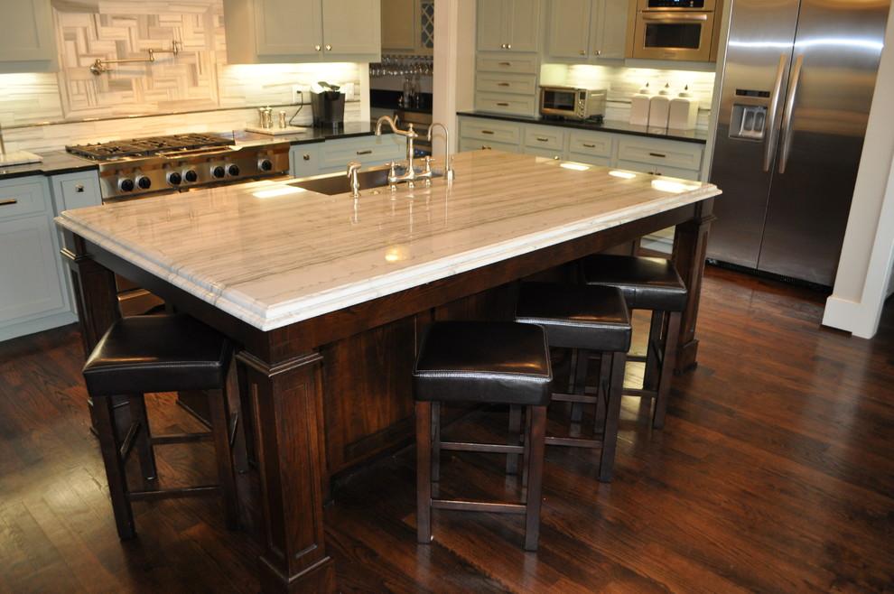 Quartz vs Granite Countertops for Craftsman Kitchen with Kitchen Aid