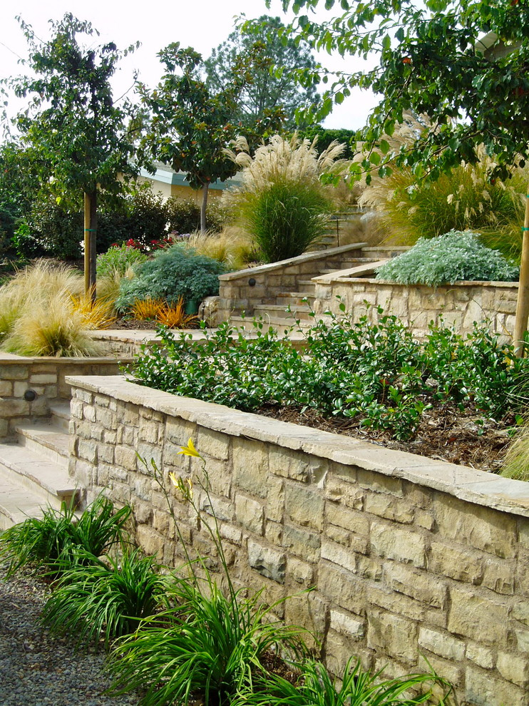 Railroad Tie Retaining Wall for Craftsman Landscape with Grasses
