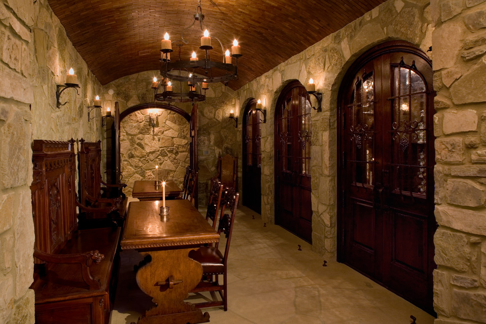Ridgewood Theater for Traditional Wine Cellar with Floor Pattern