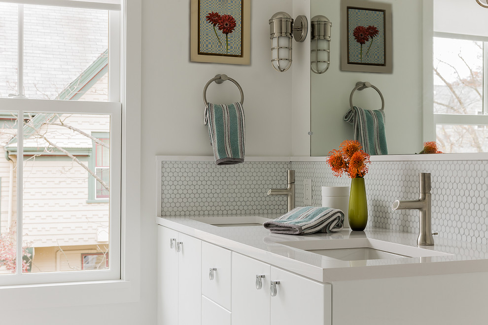 Roma Tile for Scandinavian Bathroom with Penny Tile Backsplash