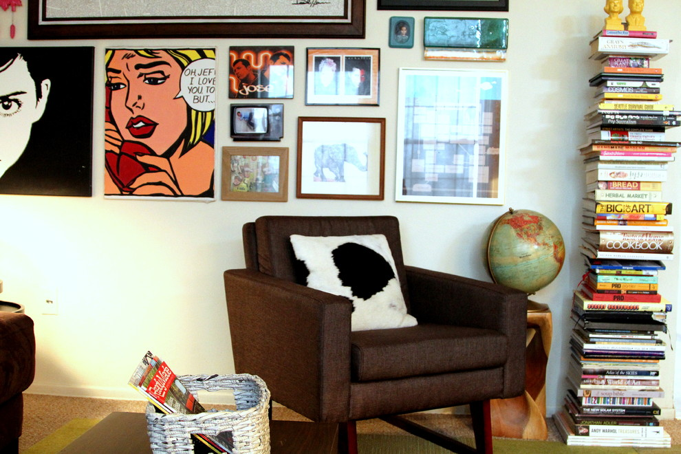 Roy Lichtenstein Drowning Girl for Eclectic Family Room with Gallery Wall