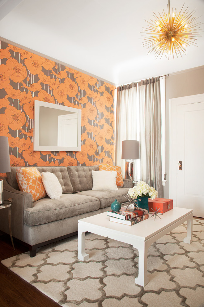 Rugsusa for Contemporary Living Room with Gray Curtains