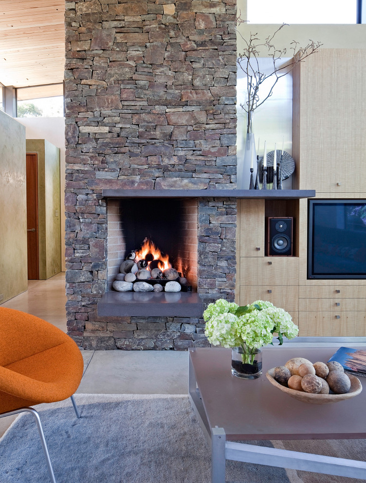 Rumford Fireplace for Beach Style Living Room with Beach Style