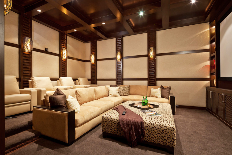 San Marcos Theater for Contemporary Home Theater with Dark Wood Ceiling