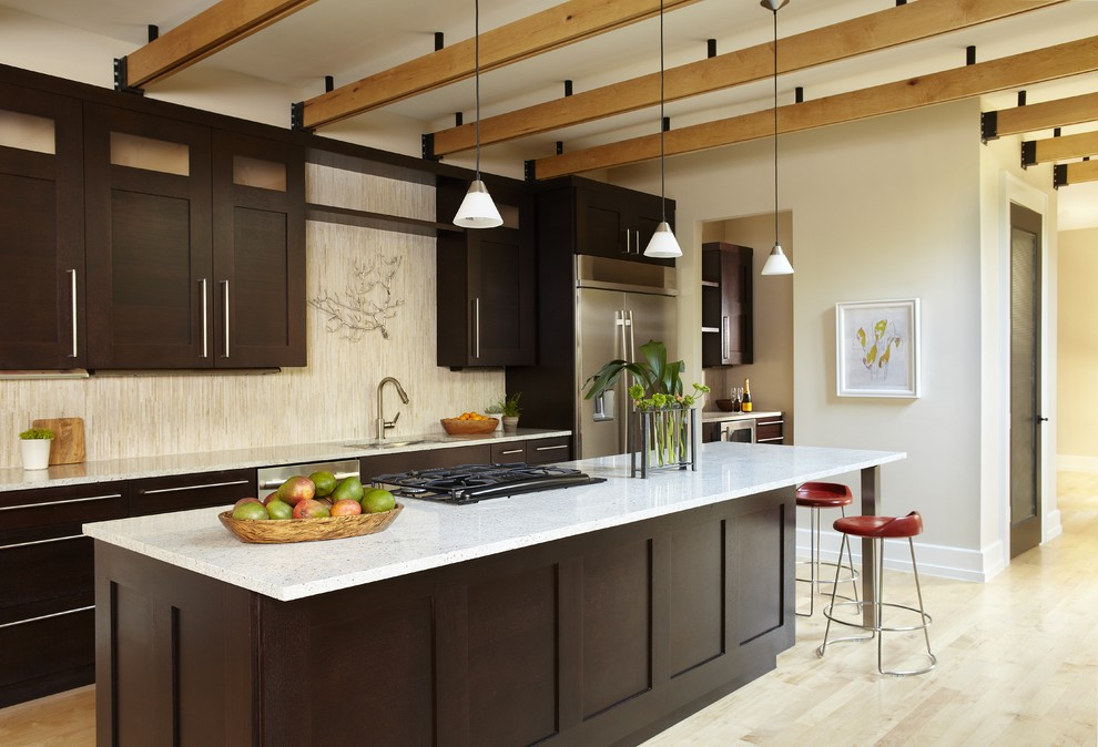 Santa Cecilia Light Granite for Contemporary Kitchen with Exposed Beams