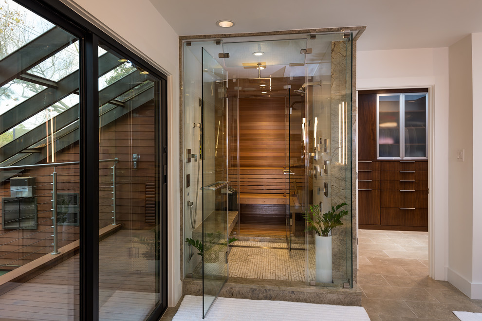 Sauna vs Steam Room for Contemporary Bathroom with Glass Roof
