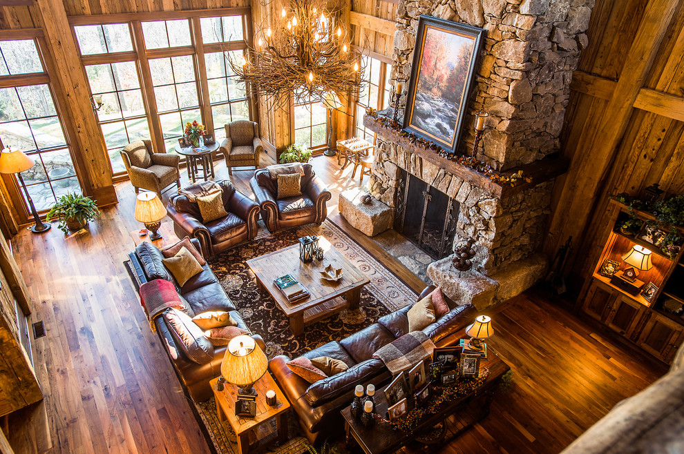 Schewels Furniture for Rustic Living Room with Fireplace in Master Bath
