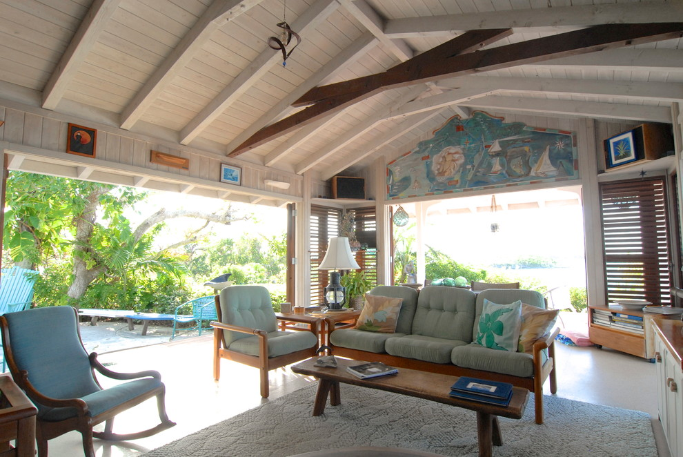 Scissor Doors for Tropical Living Room with Wood Beams