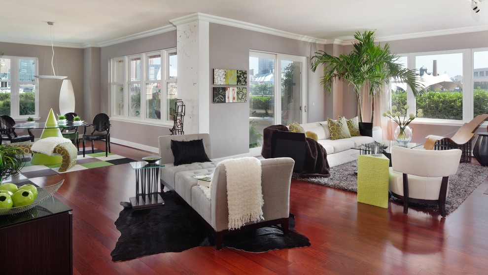 Sherwin Williams Anew Gray for Contemporary Living Room with Phillip Stark