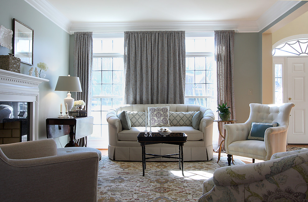 Sherwin Williams Silvermist for Traditional Living Room with Gray Blue and White