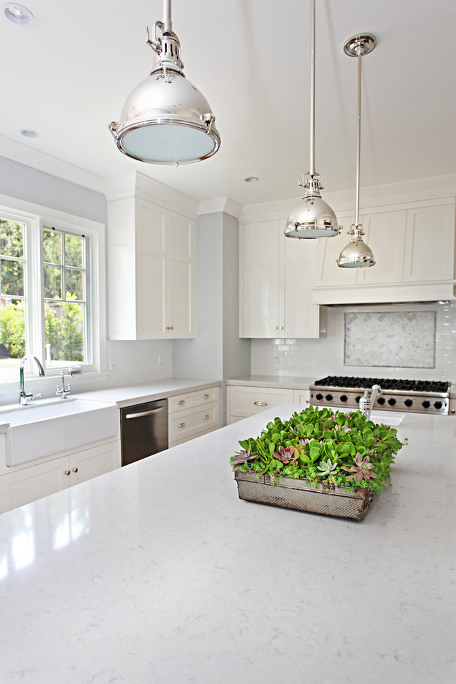 Silestone Lagoon for Transitional Kitchen with Chrome Pendant Lights