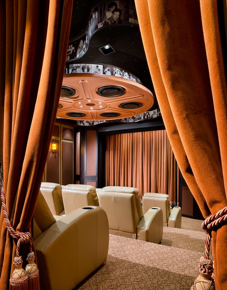 Southridge Movie Theater for Contemporary Home Theater with Orange Film Reel