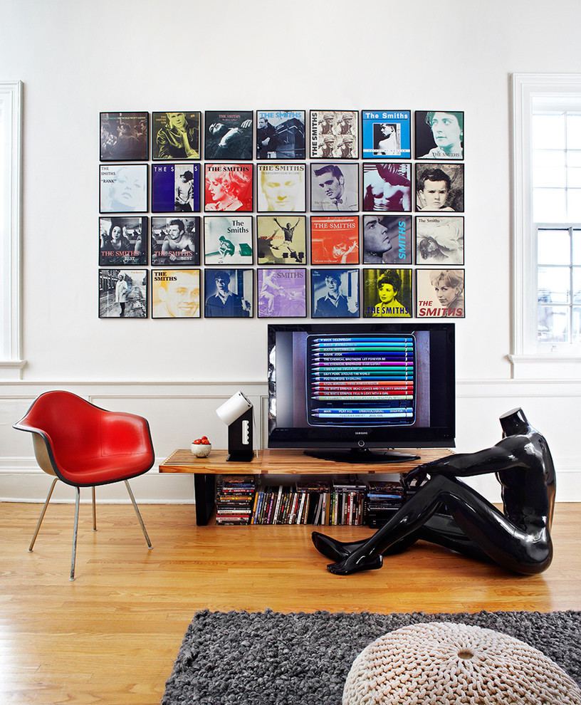 Space Oddity Album for Contemporary Family Room with Wood Bench