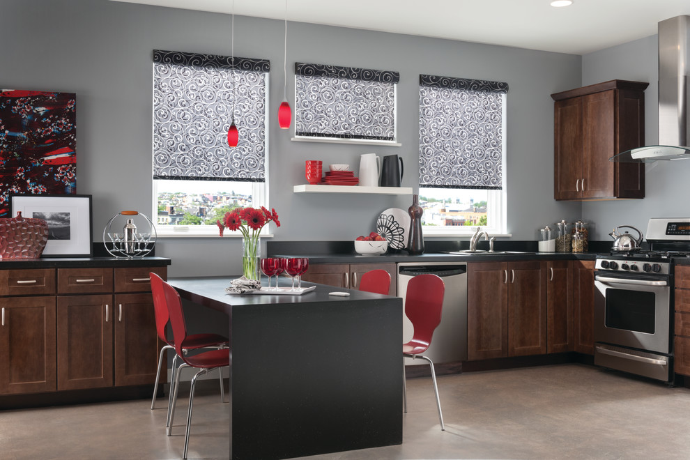 Spring Window Fashions for Contemporary Kitchen with Graber Blinds