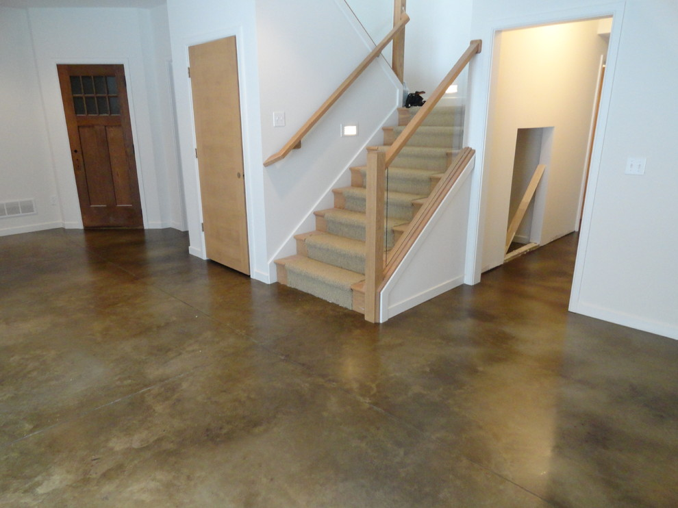 Stained Concrete Floors for Traditional Basement with Stained Concrete