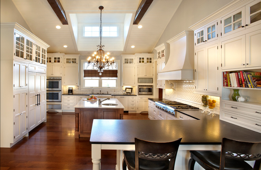 Starmark Cabinets for Traditional Kitchen with Dark Wood Counter Stool