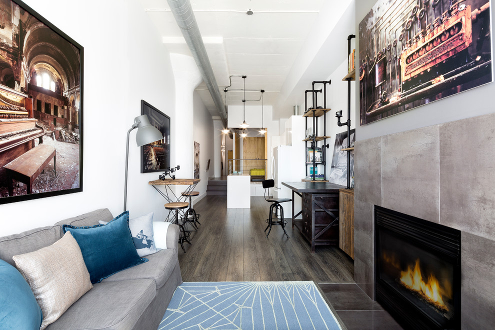 Stoll Fireplace for Industrial Living Room with Home Office