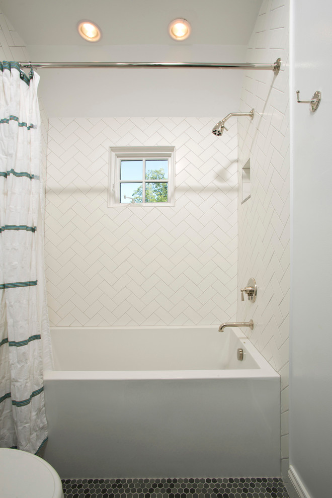 Subway Tile Patterns for Traditional Bathroom with Mclean Design Build
