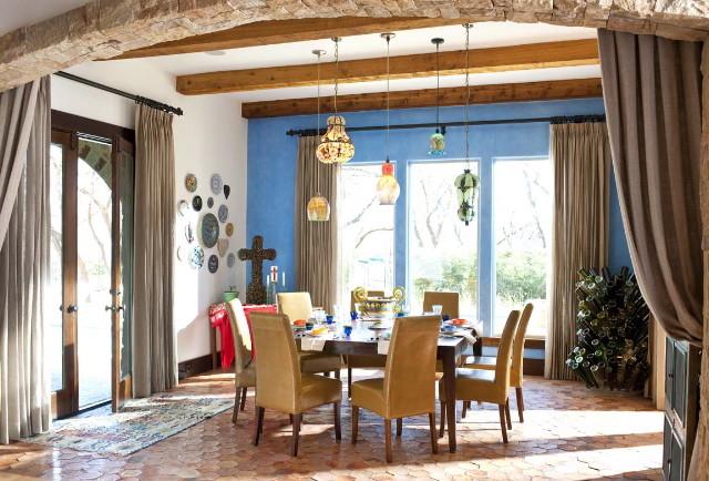Sunburst Bottle for Southwestern Dining Room with Linen Drapery