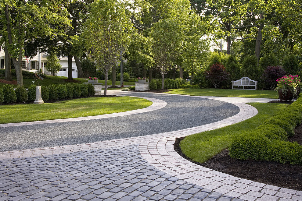 Tar and Chip Driveway for Traditional Landscape with Paver Driveway