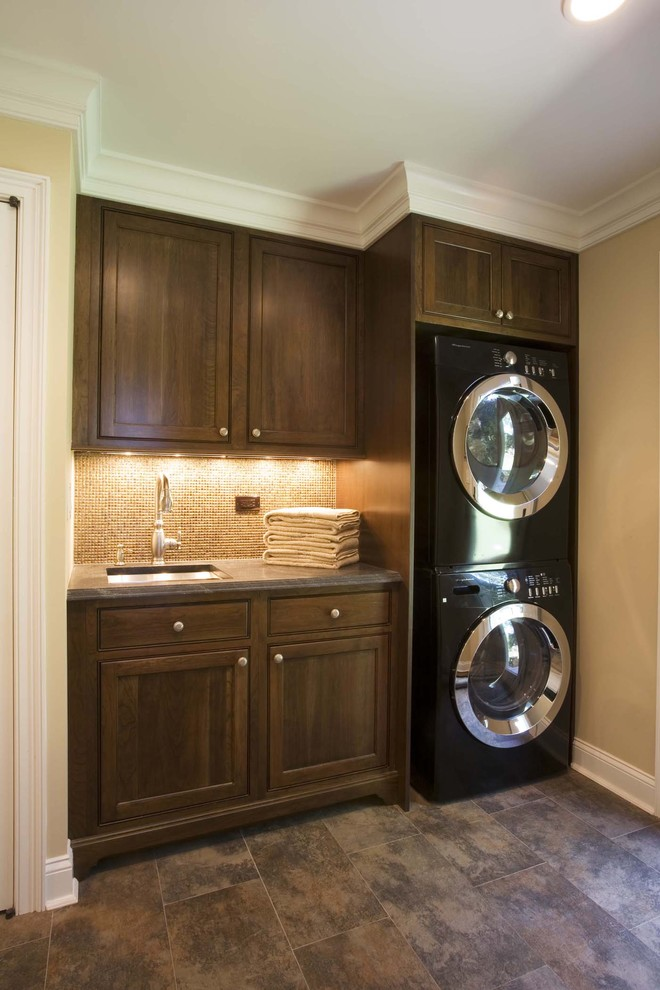 Thrasher Basement for Traditional Laundry Room with Stackable Washer and Dryer