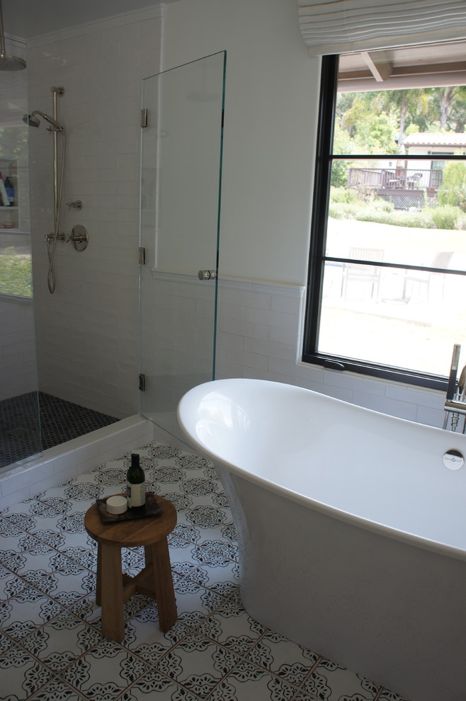 Tileco for Mediterranean Bathroom with Black and White Tile