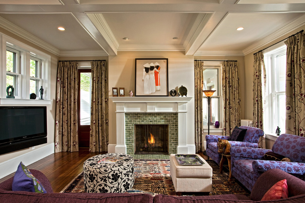 Tiled Fireplaces for Eclectic Living Room with Baseboards
