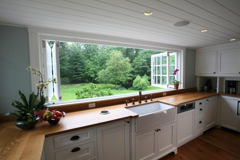 Trash Chute for Farmhouse Kitchen with Bi Folding Windows