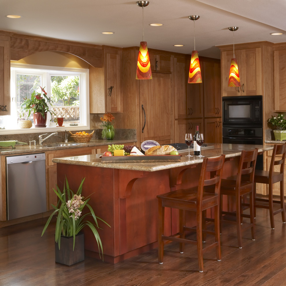 Triangle Bulbs for Contemporary Kitchen with Colorful Pendant Light