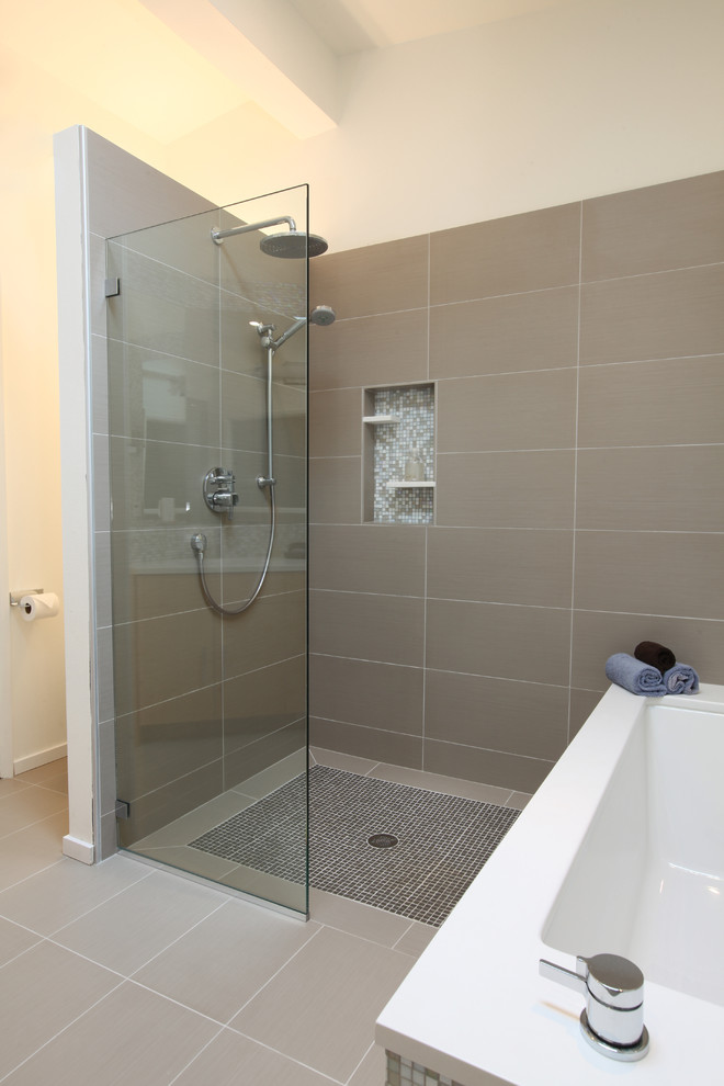 Tricon Homes for Midcentury Bathroom with Rain Shower Head