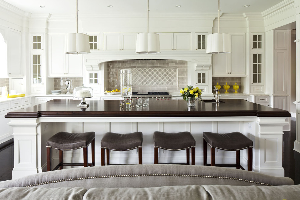 Uncommon goods.com for Transitional Kitchen with Black Floors