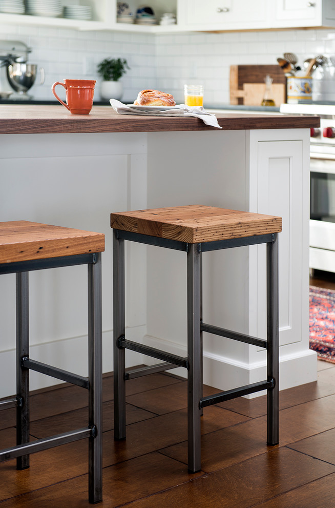 Vermont Farm Table for Contemporary Kitchen with Metal Counter Stool