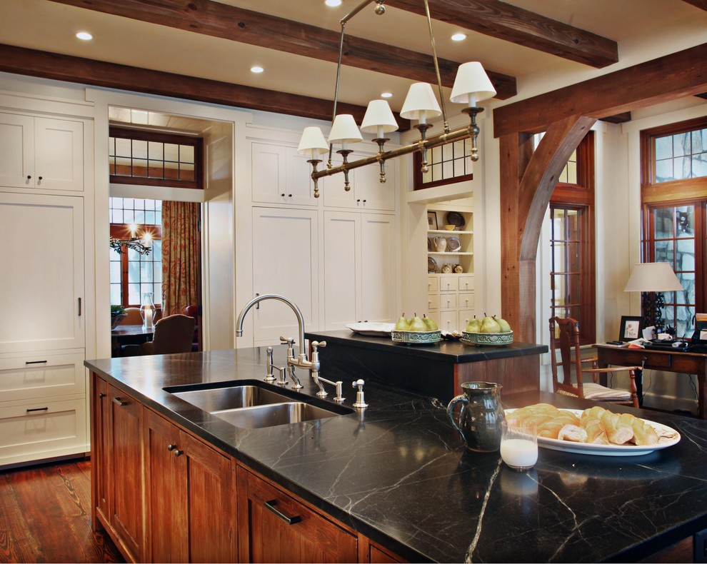 Vermont Soapstone for Rustic Kitchen with Wood Cabinets