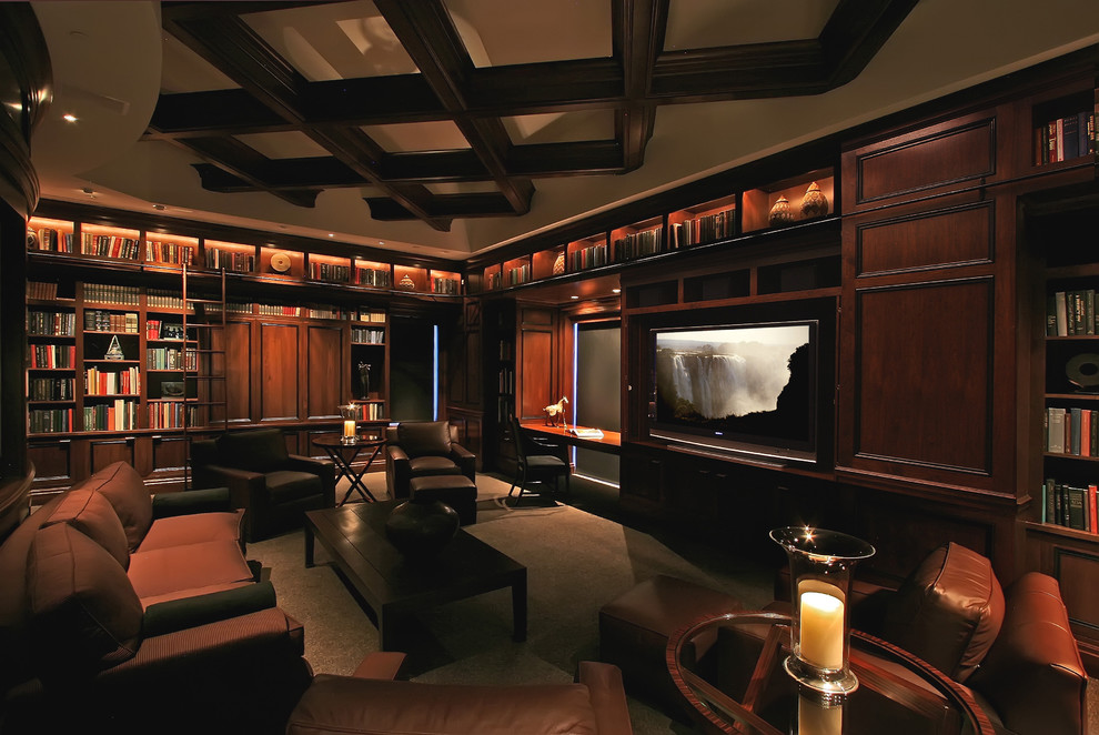 Walnut Creek Theater for Traditional Home Theater with Coffered Ceiling